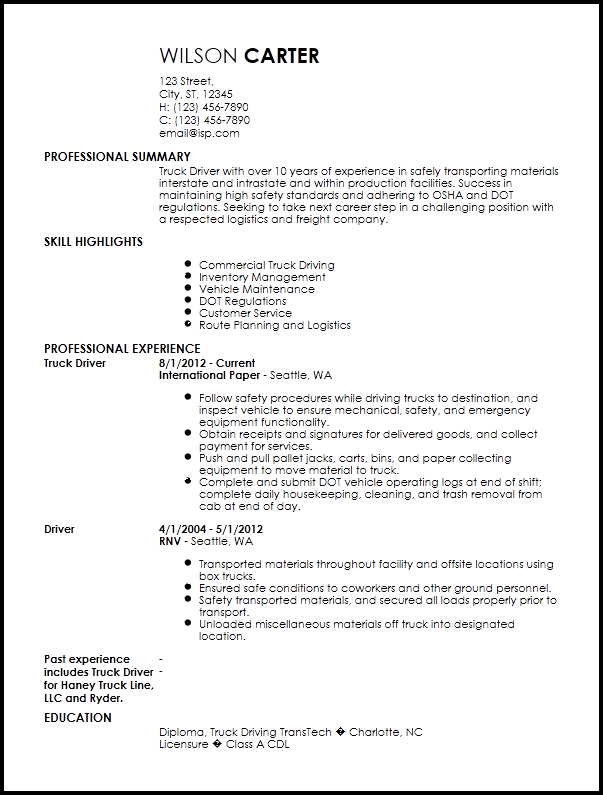 Truck Driver Resume Templates Free