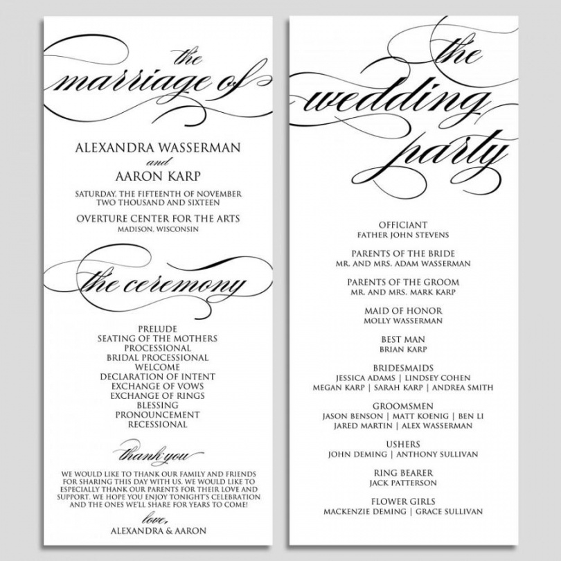 Free Wedding Program Template Wedding Program Printable Ceremony Wedding Ceremony Itinerary Template Doc