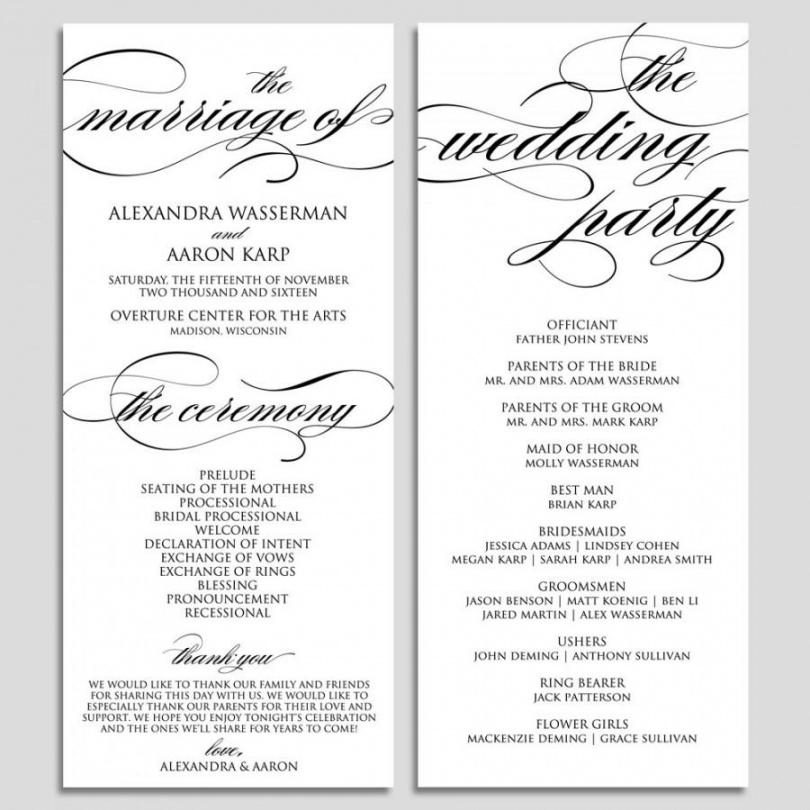 Free Wedding Program Template Wedding Program Printable Ceremony Wedding Ceremony Itinerary Template Doc