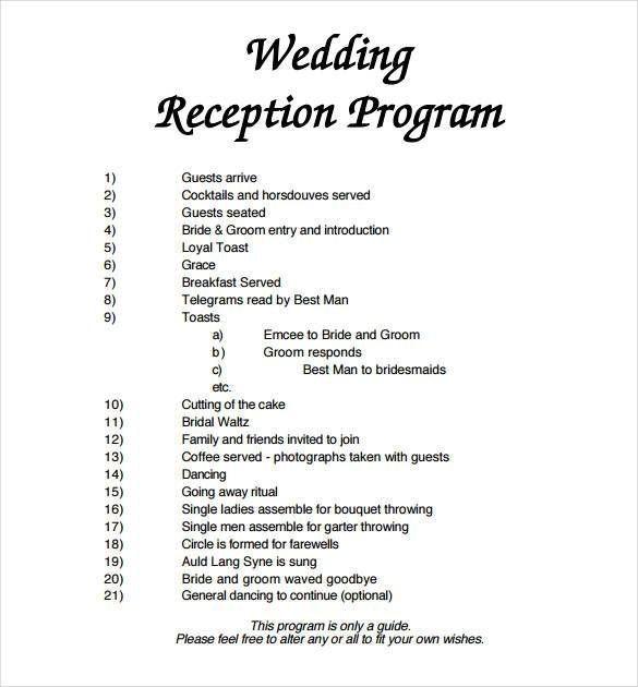 Wedding Reception Program Template Word