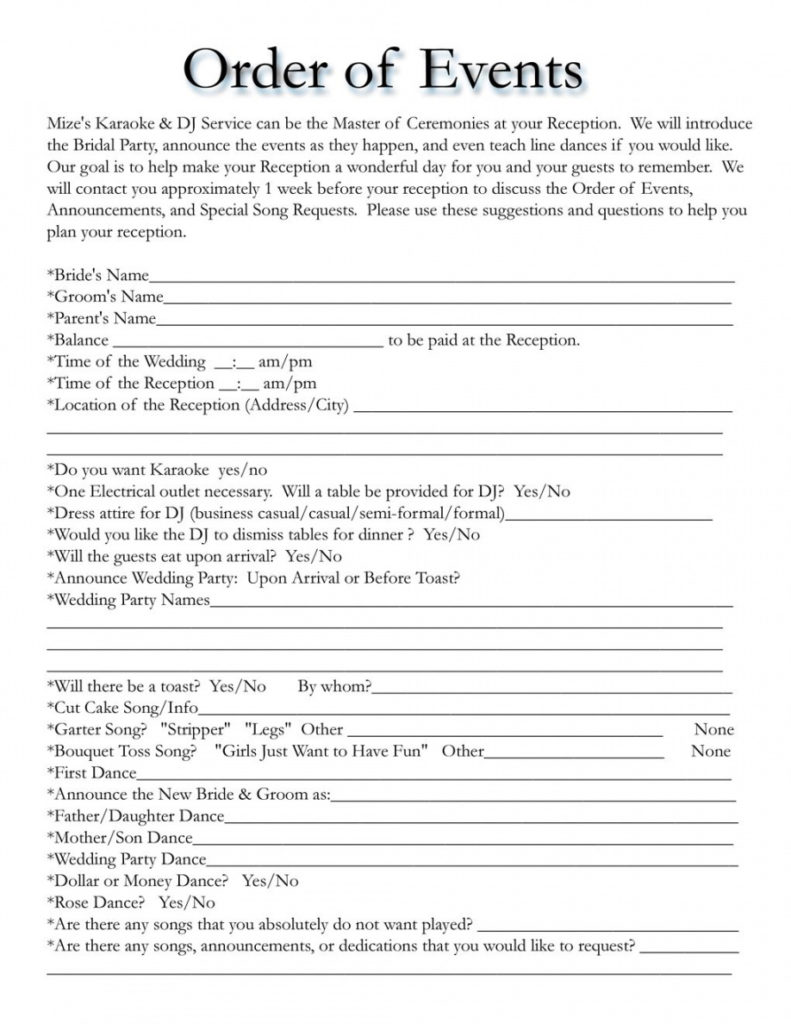 Wedding Reception Itinerary For Dj Google Search Events2plan In Wedding Party Itinerary Template