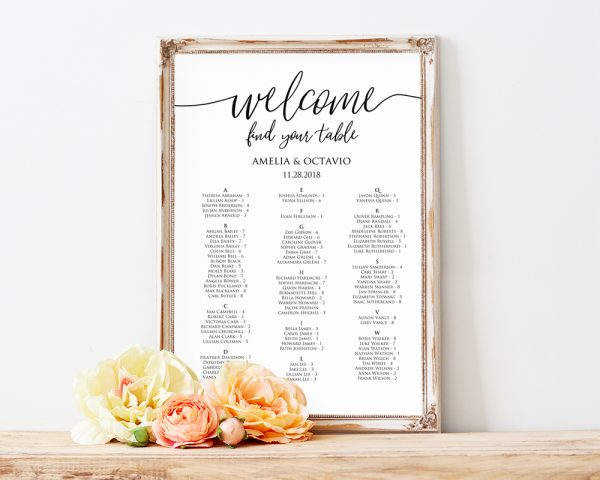 Wedding Seating Chart Template Alphabetical