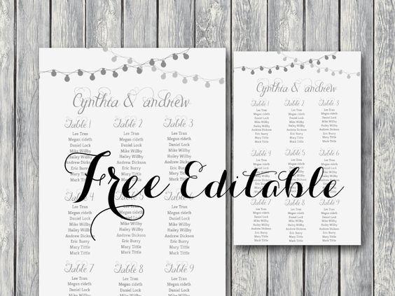 Wedding Seating Chart Template Free Printable