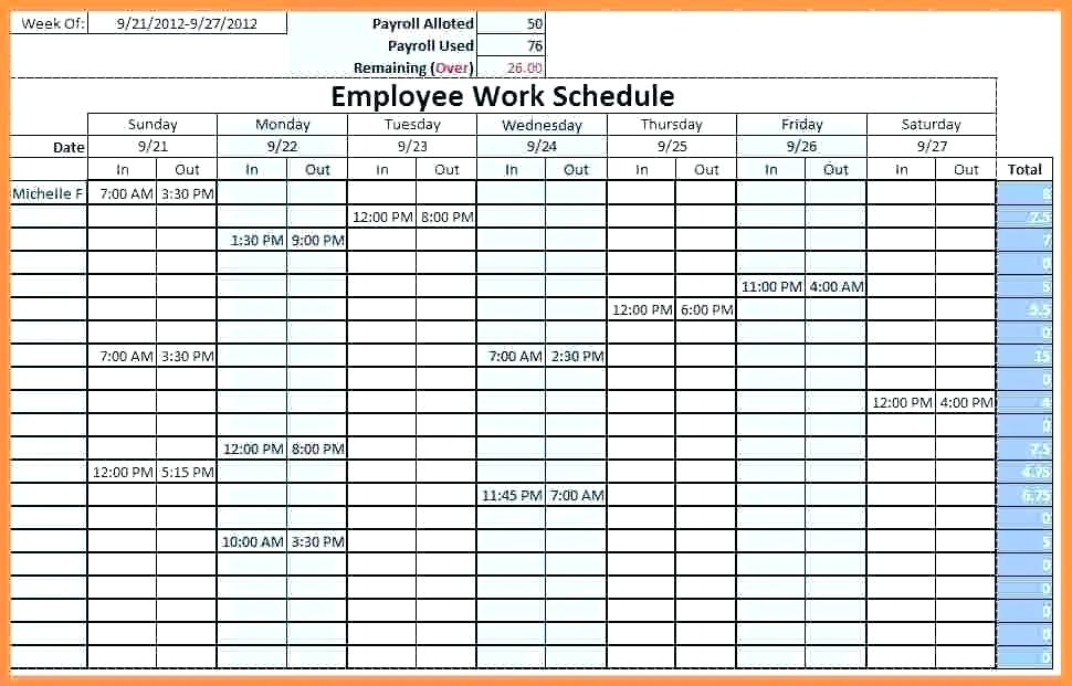 Weekly Employee Schedule Template Excel