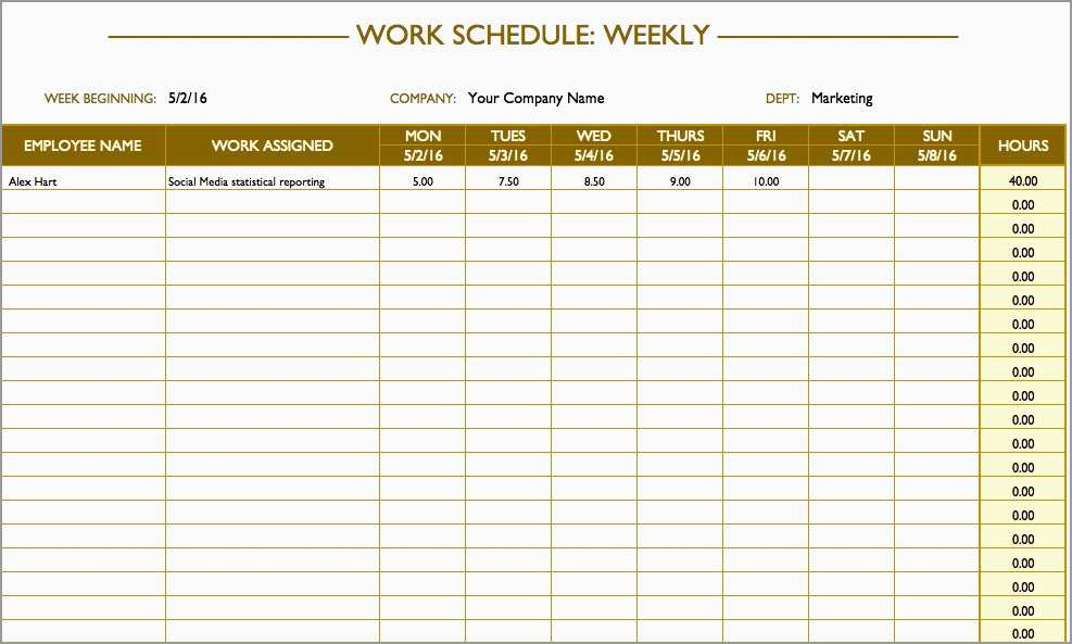 Free Weekly Employee Schedule Template Fabulous Free Work Schedule Templates For Word And Excel
