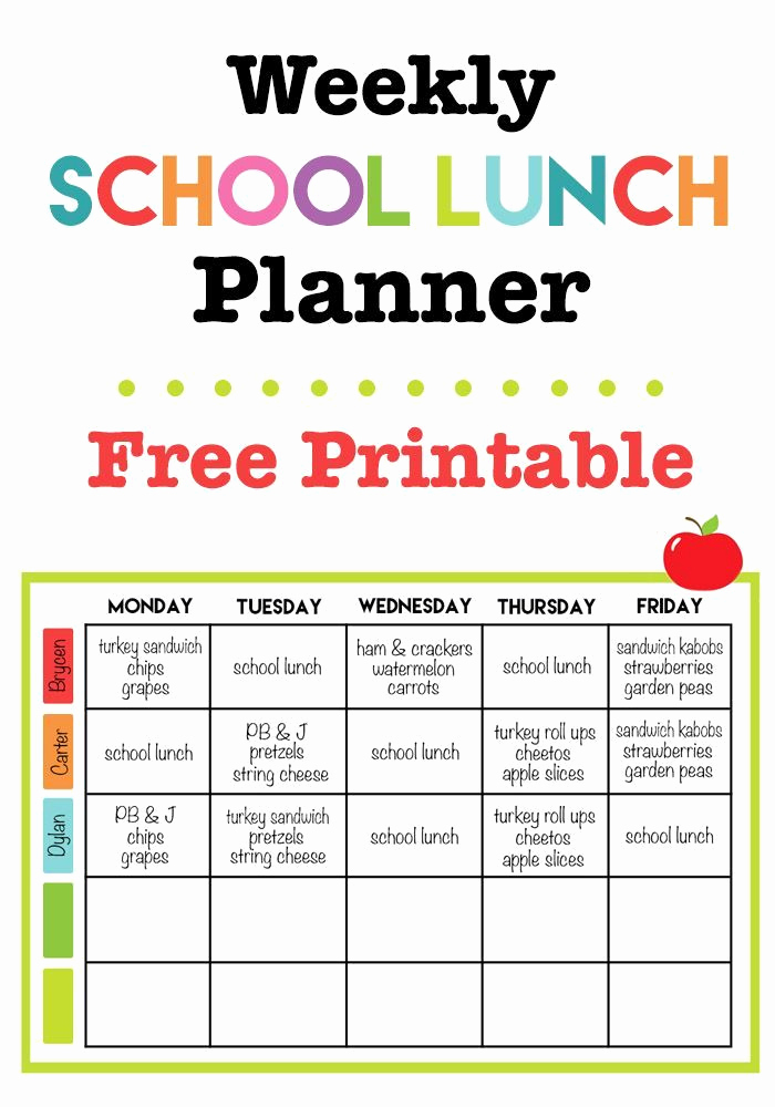 Free Printable Kids Menu Template Then Weekly School Lunch Printable