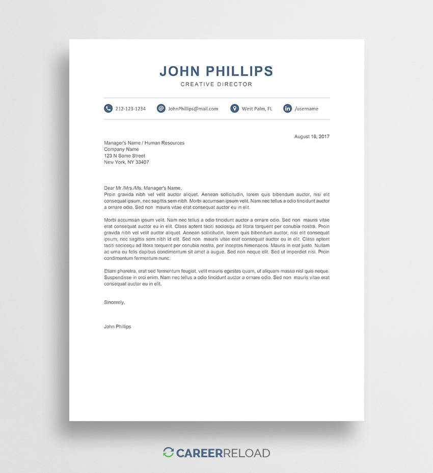 Word Document Free Cover Letter Template Word
