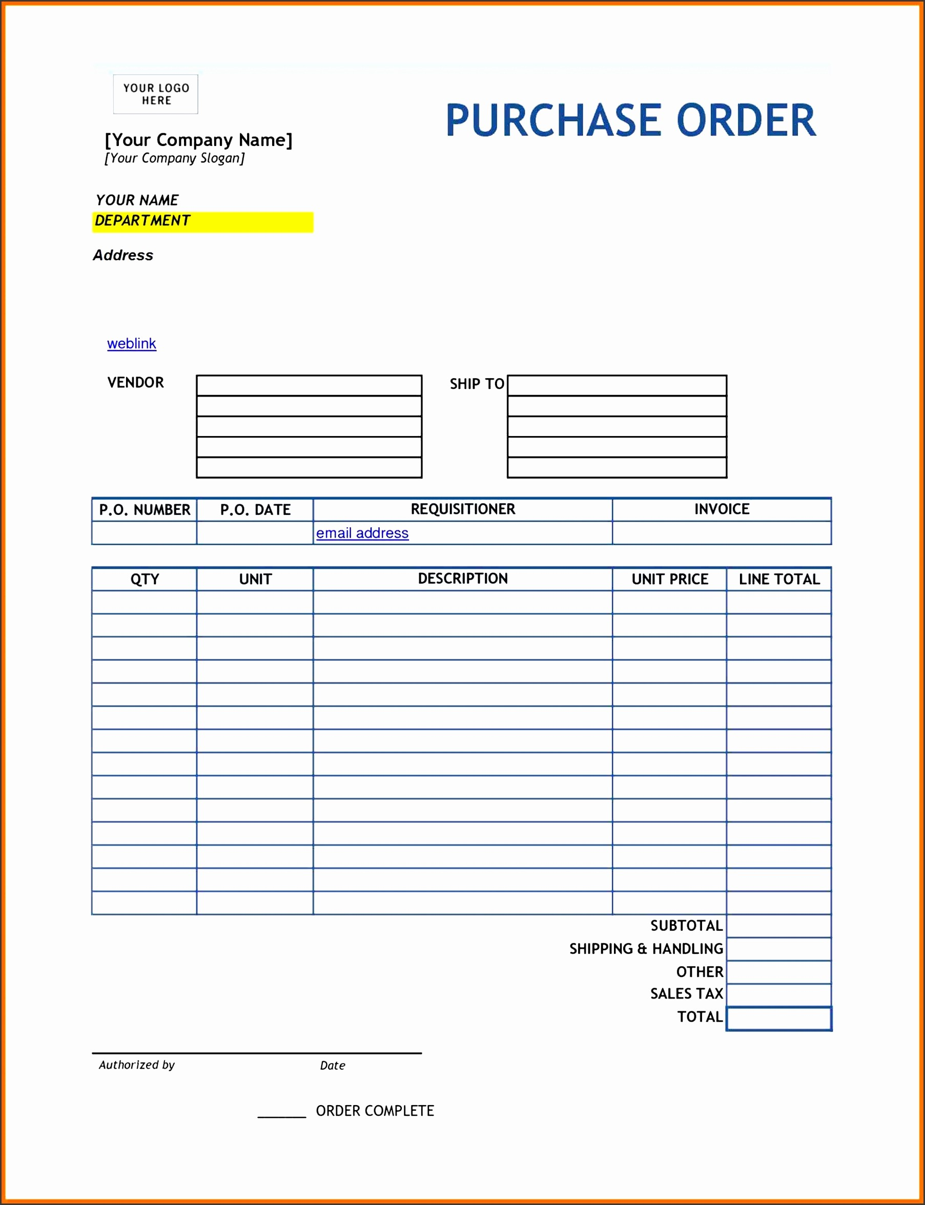Word Editable Purchase Order Template