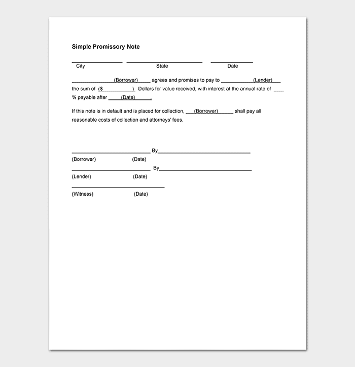 Word Template For Promissory Note Free