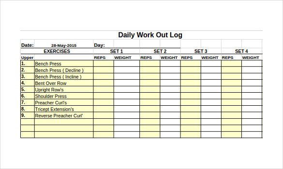 Workout Journal Excel Template