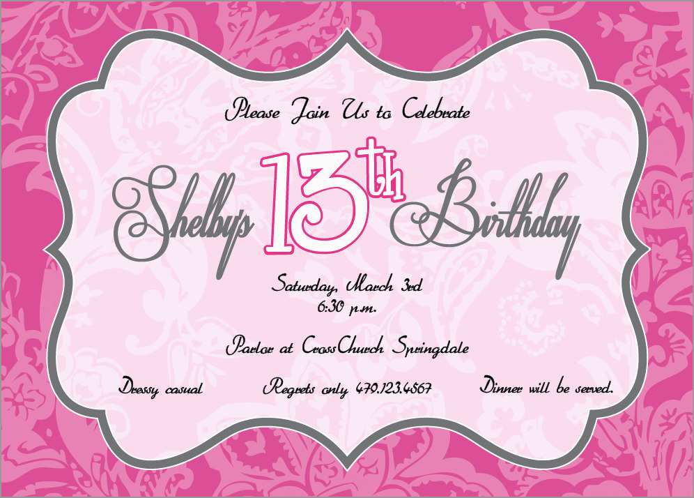 13th Birthday Invitation Templates Free Astonishing Birthday Invites How To Make 13th Birthday Party