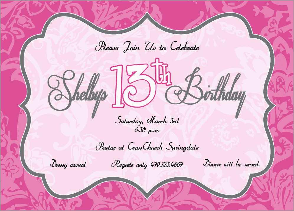 13th Birthday Invitation Templates Free Astonishing Birthday Invites How To Make 13th Birthday Party