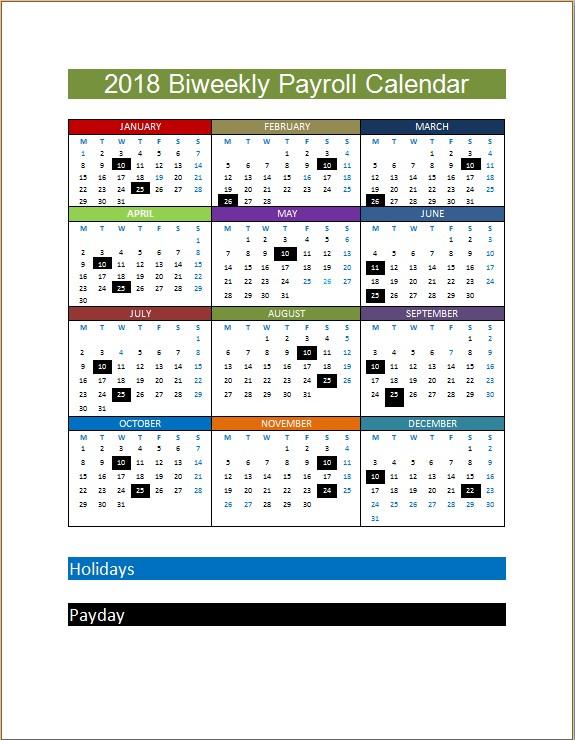 2018 Biweekly Payroll Calendar Template