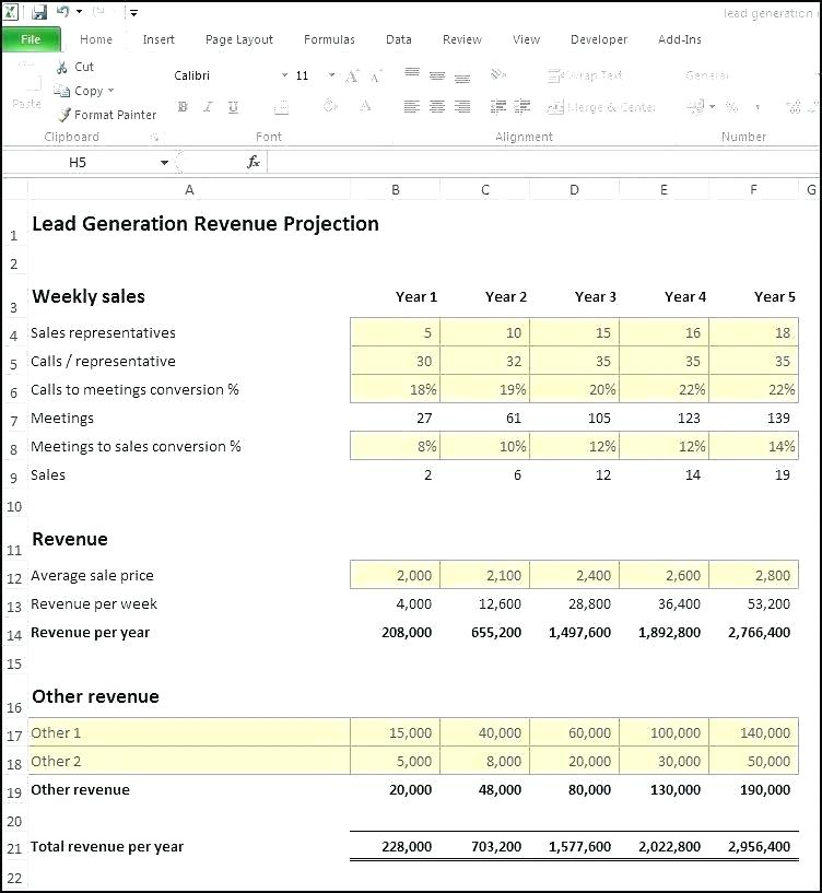3 Year Financial Projection Template Xls