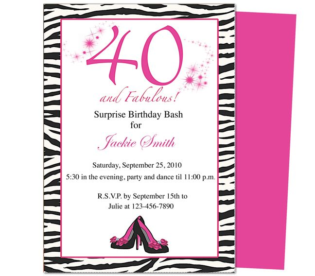 40th Birthday Invites Templates