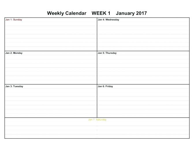 7 Day Weekly Employee Schedule Template