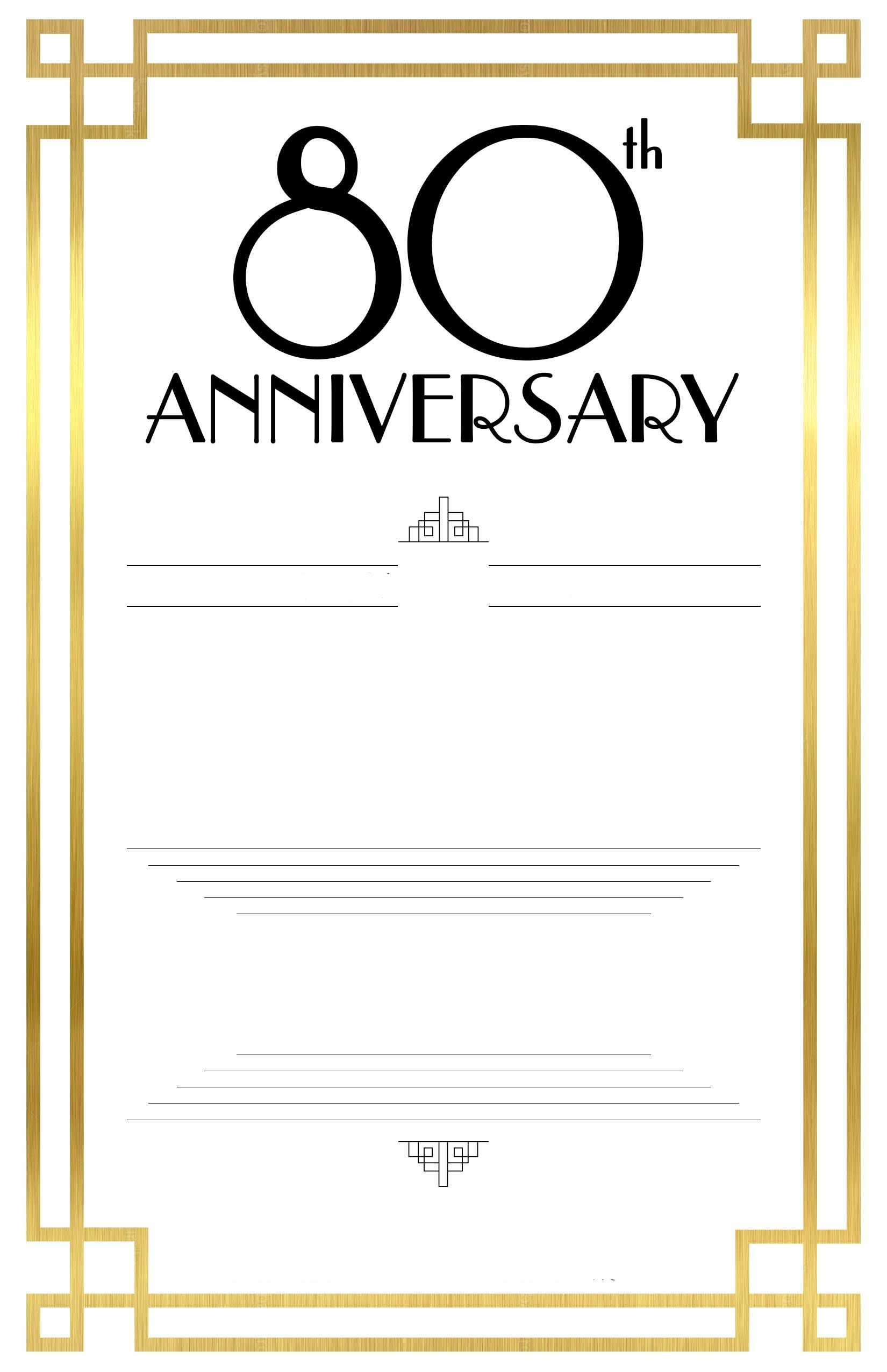 80th Birthday Invitation Templates Free Printable