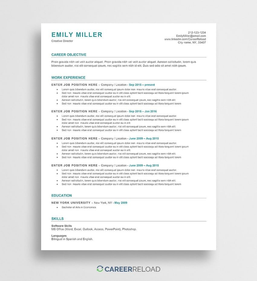 Ats Friendly Resume Template Free