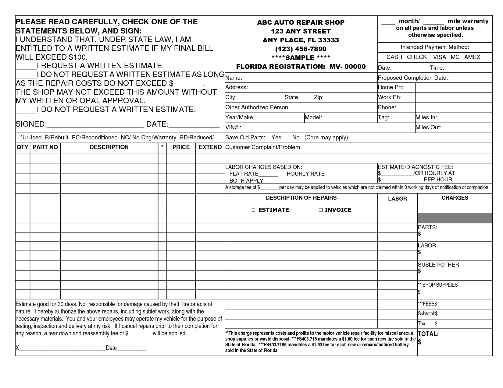 Auto Repair Shop Invoice Template