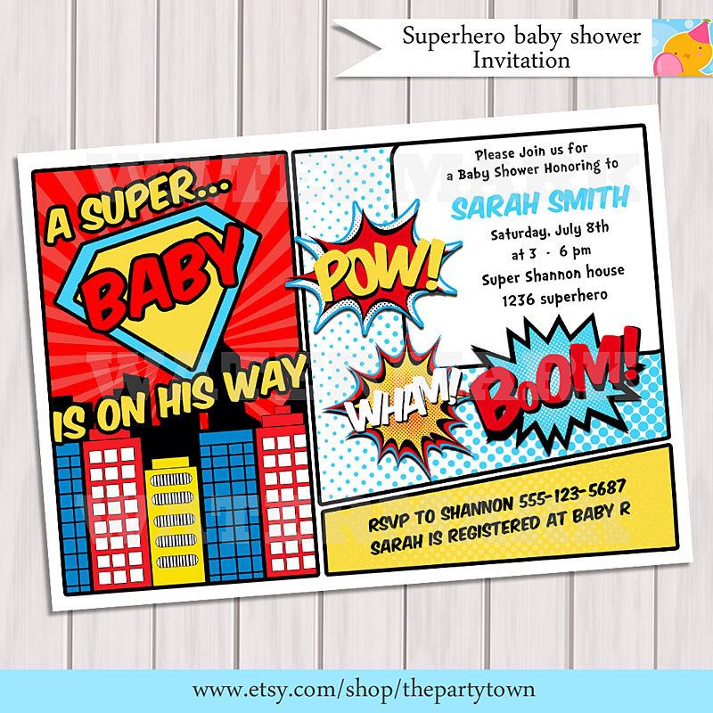 Baby Superhero Invitation Template
