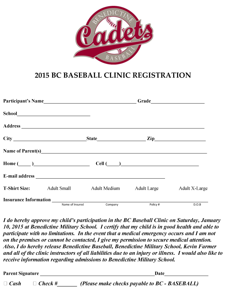Baseball Camp Registration Form Template