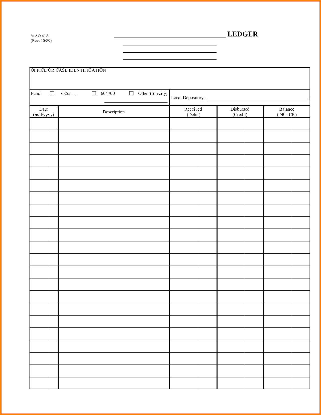 Basic Accounting Ledger Template