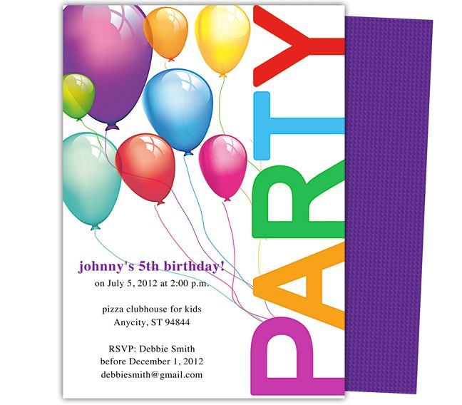 Birthday Party Invite Template Word