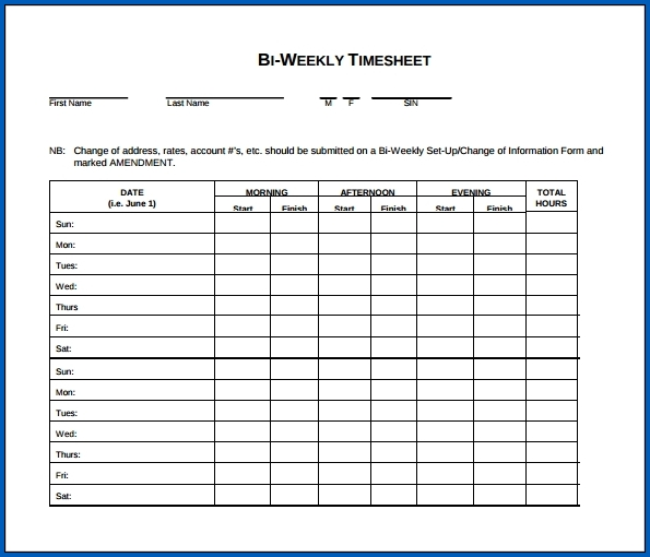 Biweekly Timesheet Template Free Printable