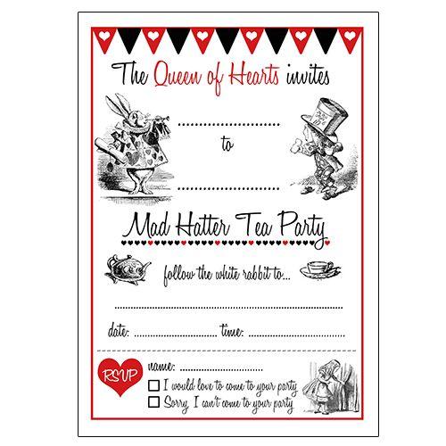 Blank Alice In Wonderland Invitation Template