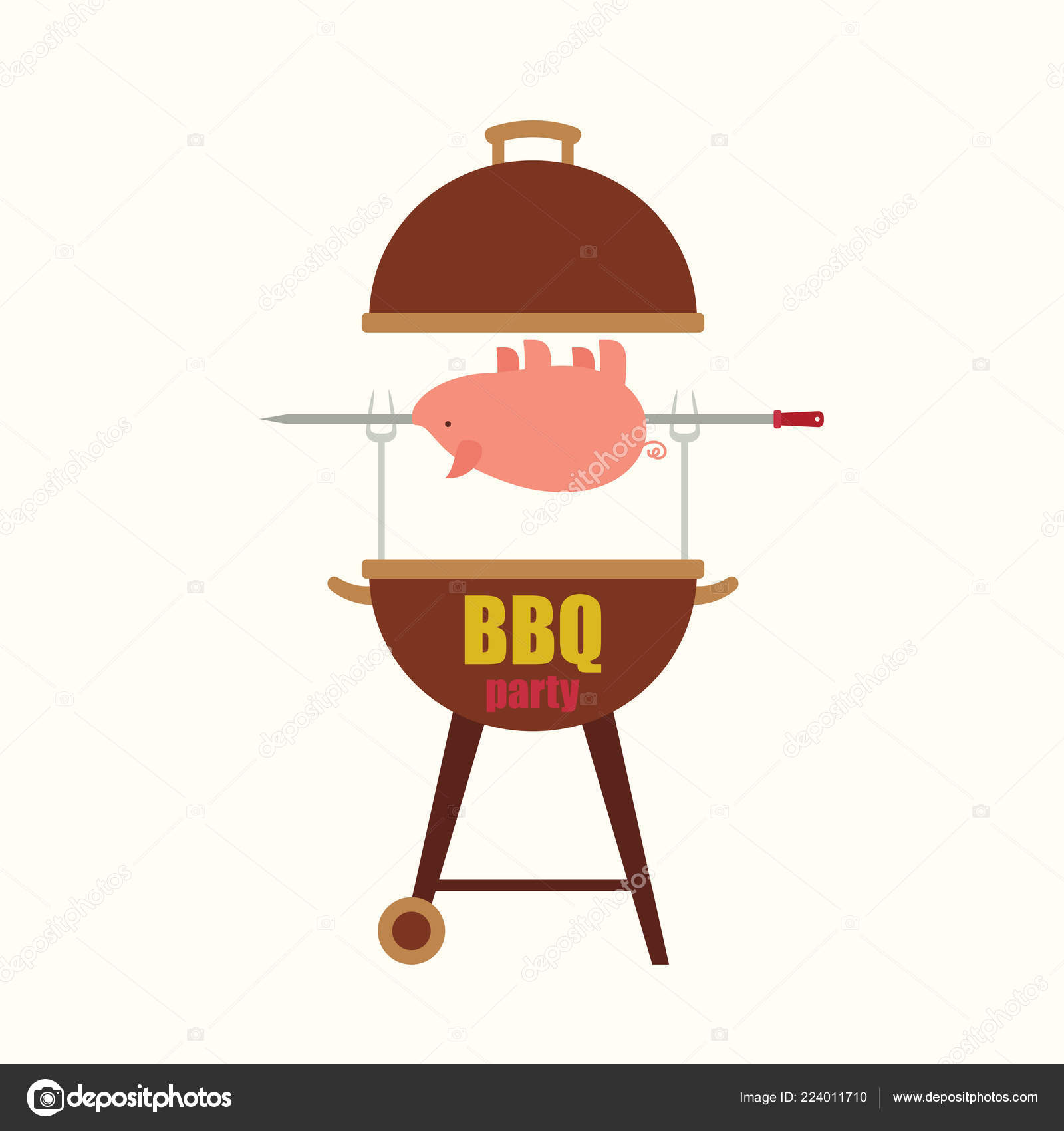 Bbq/barbecue Party Blank Invitation Template With A Pig