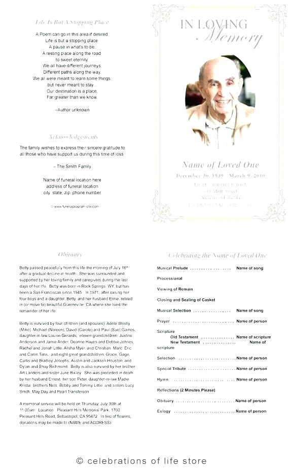 Blank Funeral Invitation Template