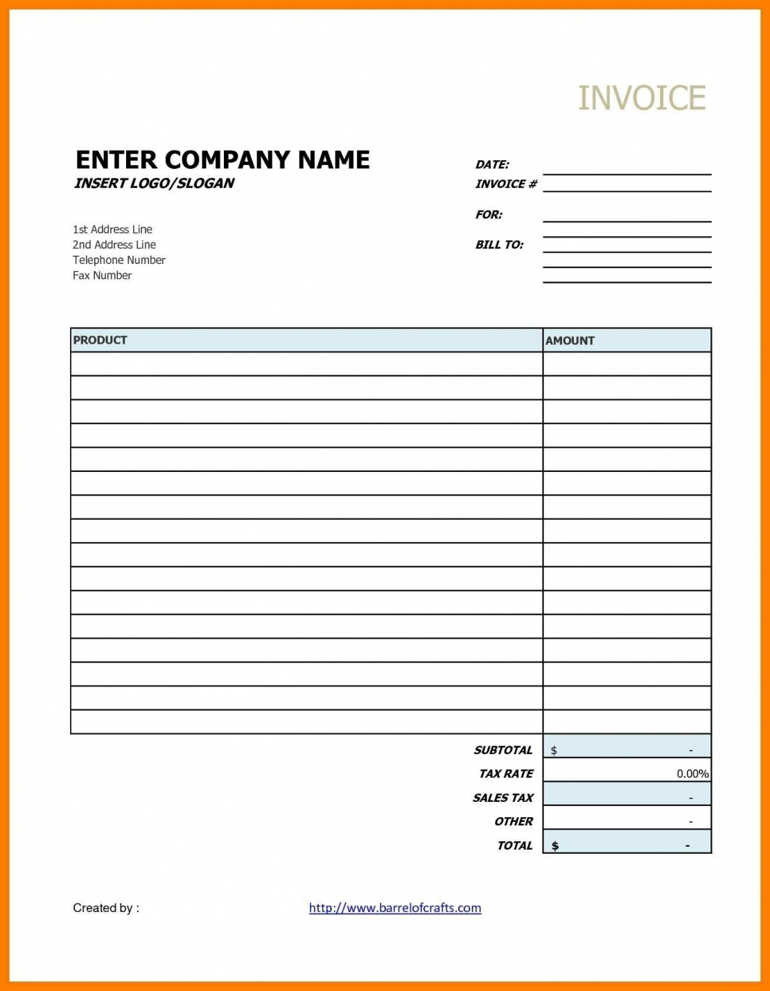 Blank Invoice Template Google Docs | Spreadsheet Collections Blank Invoice Template Google Sheets