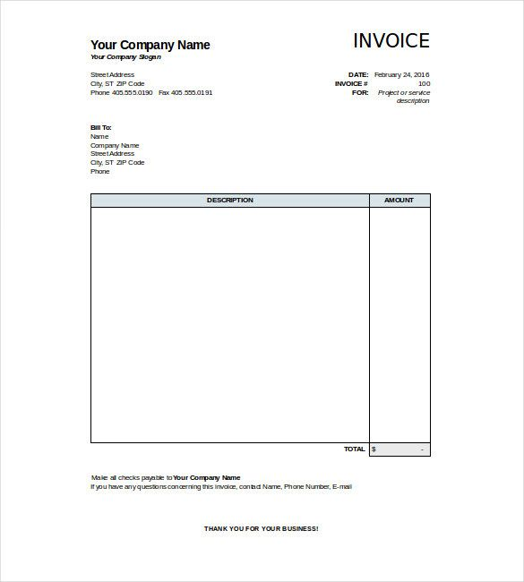 Blank Invoice Templates Free