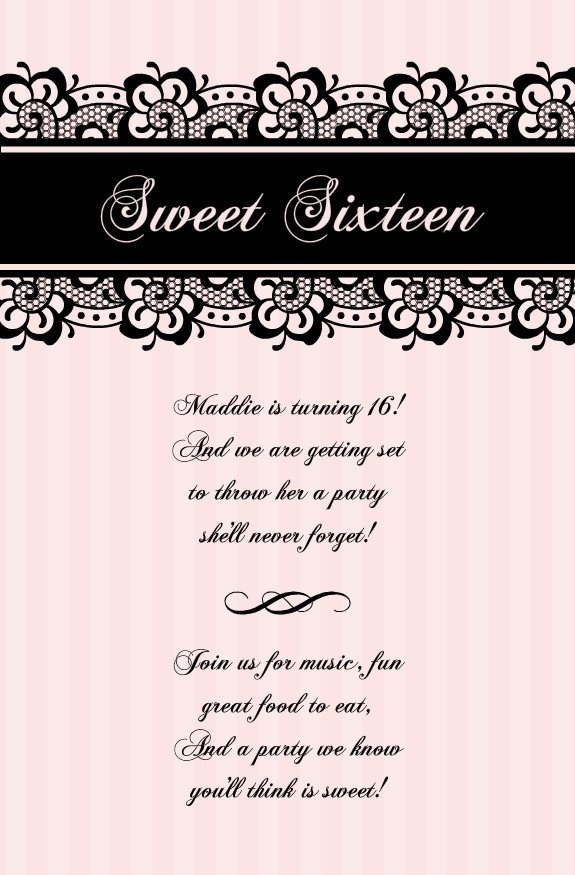 Design Sweet 16 Invitations Techllc Intended For Blank Sweet 16 Invitation Templates
