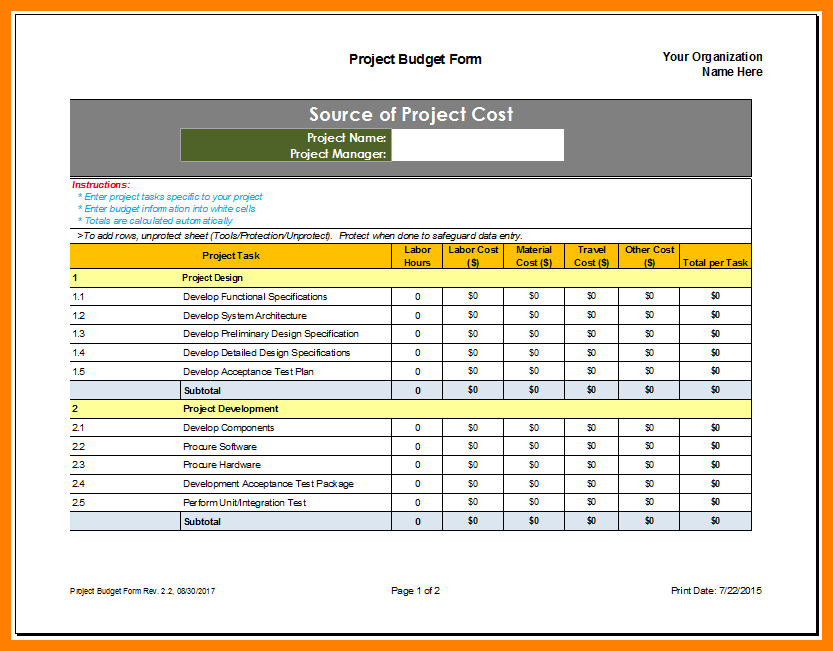 Budget Proposal Template Excel