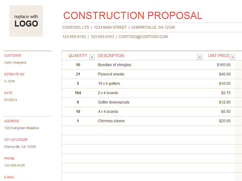 Building Construction Quote Template