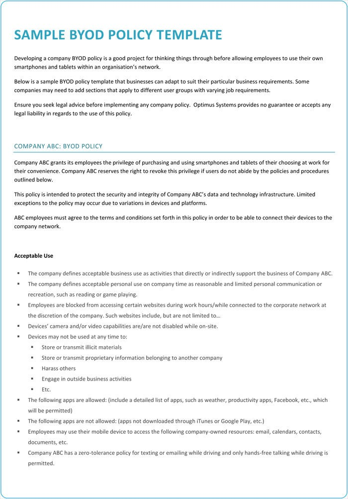 Byod Policy Template For Healthcare