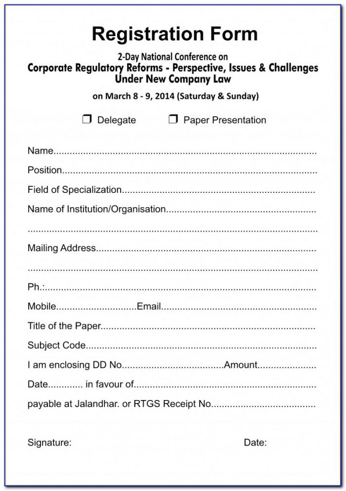 Camp Registration Form Template Word