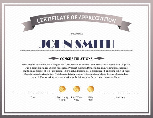 Certificates Of Appreciation Templates