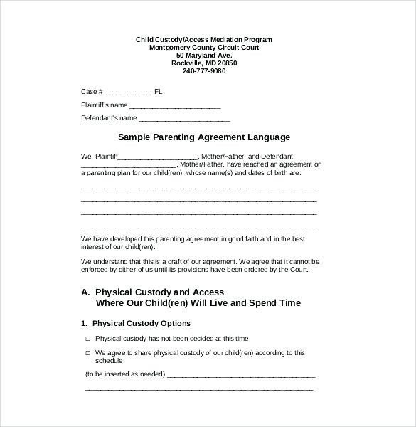 Child Custody Agreement Template Free
