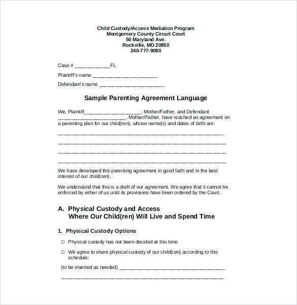 Child Custody Agreement Template Free