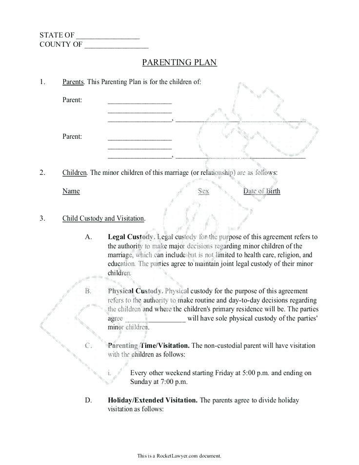 Child Custody Agreement Template Uk