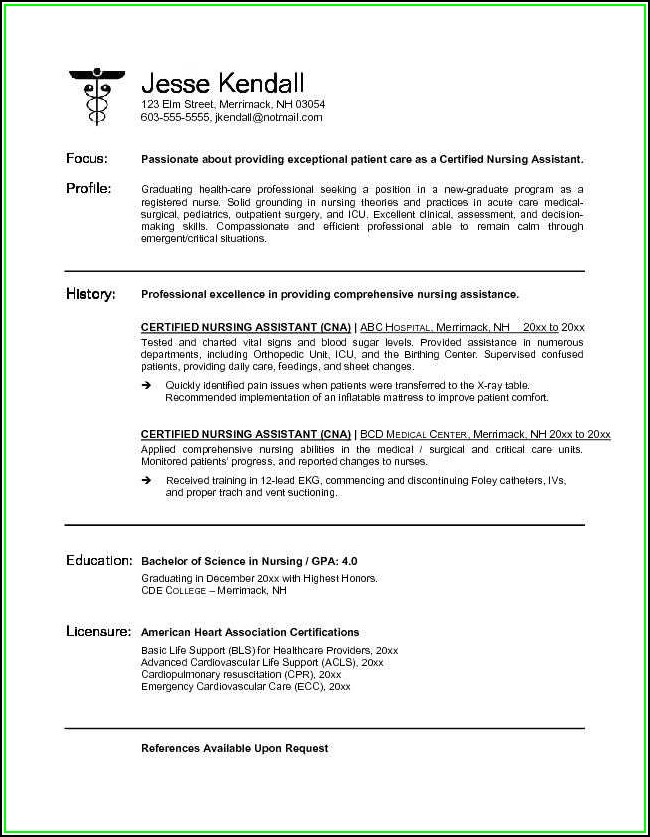 Cna Resume Templates Free Best Of Example Certified Nursing Assistant Resume Free Sample Example