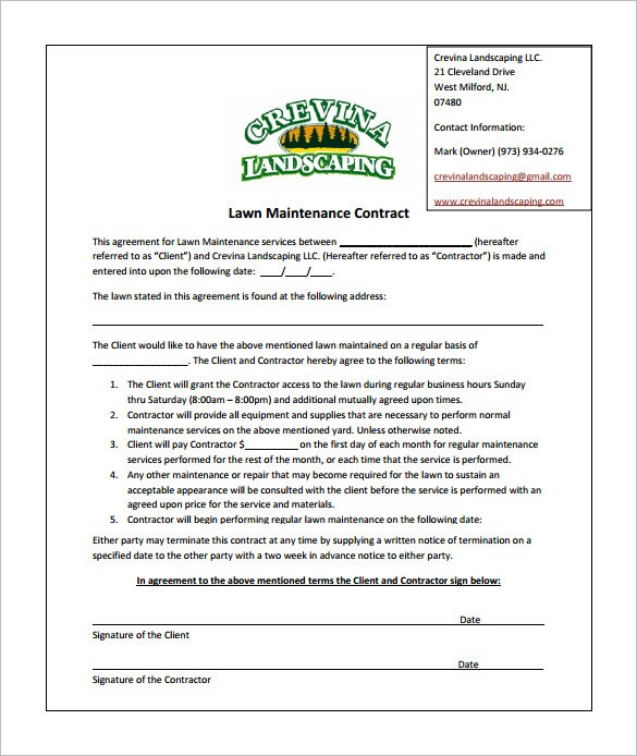 Commercial Lawn Care Contract Template