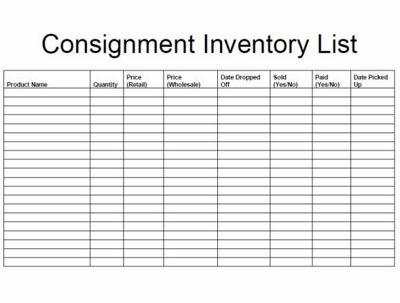Consignment Inventory Sheet Template