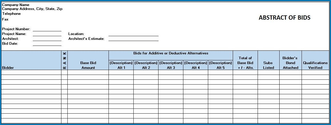 Construction Bid Proposal Template Excel