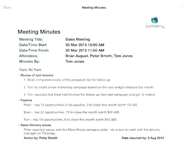 Construction Word Document Meeting Minutes Template