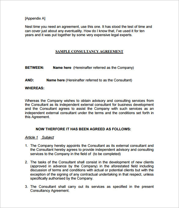 Consultant Agreement Template India