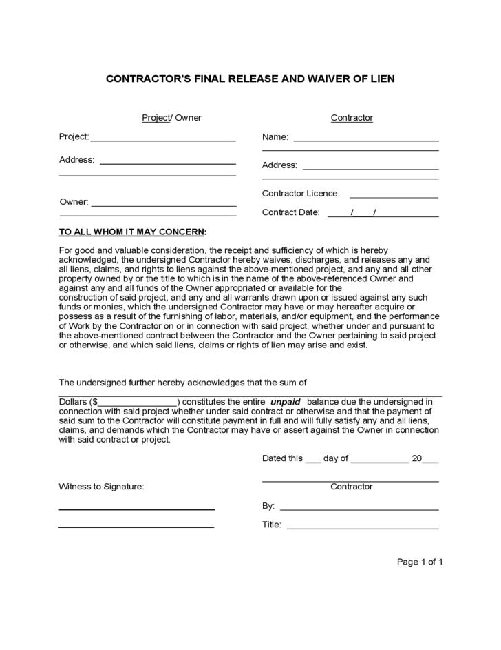 Contractor Lien Waiver Template