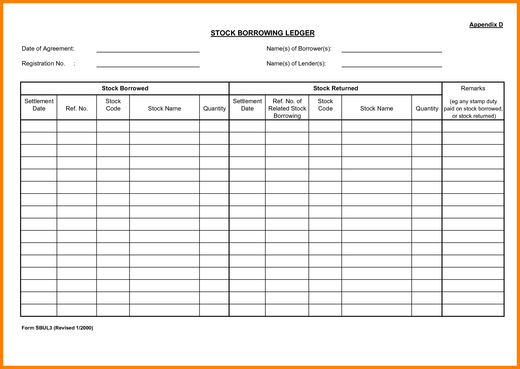 Corporate Stock Ledger Template